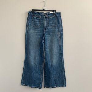 New American Eagle Super High Rise Wide Leg Vintage Wash Jeans